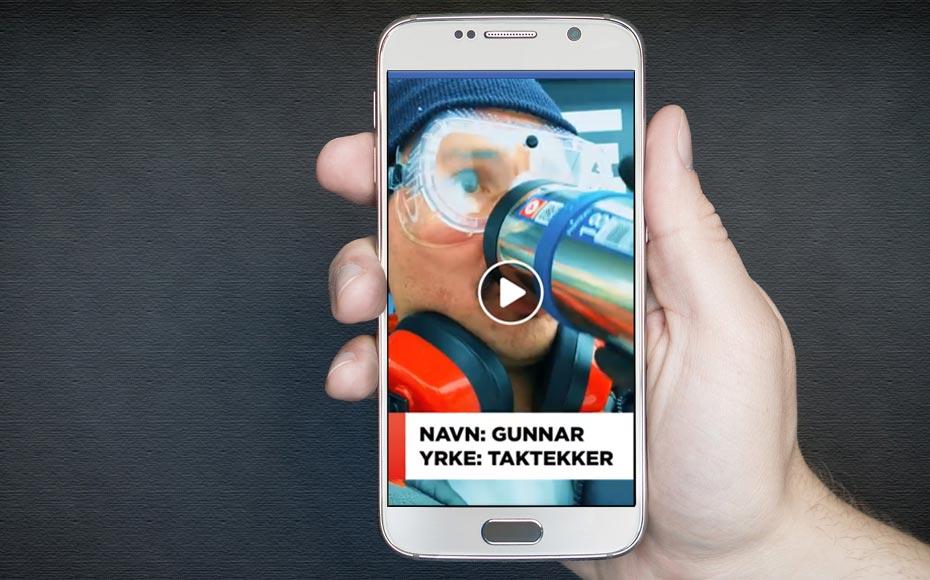 Video av taktekker Gunnar med Circle K Koppen på mobilskjerm