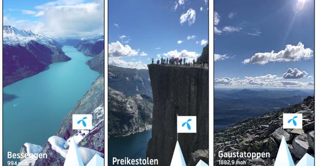 3 ulike Snapchat filter fra fjelltopper i Norge som brukt for å vise fart og dekning overalt