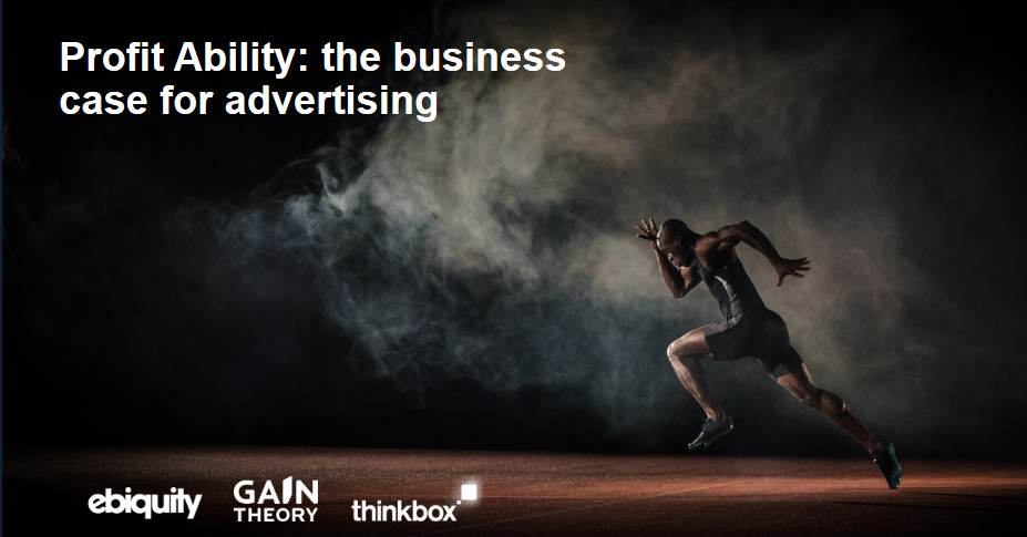 Mann som løper. Tekst: 'Profit Ability: the business case for advertising.' Fra ebiquity, gain theory, thinkbox