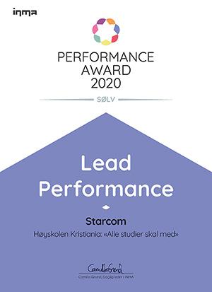 Diplom: INMA Performance Award 2020 Lead Performance, Sølv til Starcom og Høyskolen Kristiania